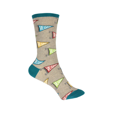 Let Yo' Vegan Flag Fly Crew Socks in Hemp Heather