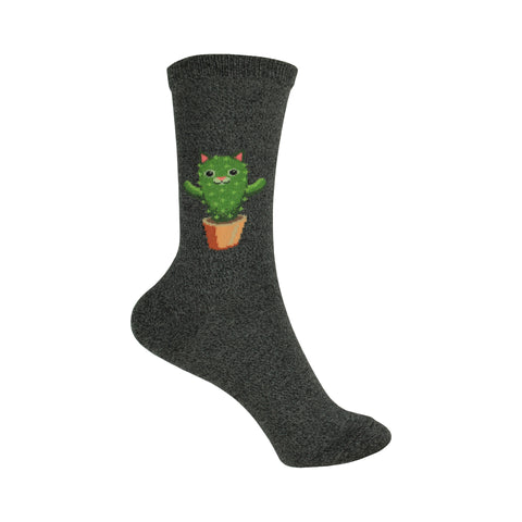 Cat Cactus Crew Socks in Charcoal