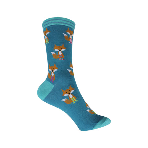 Fox in Socks Crew Socks in Blue-Green