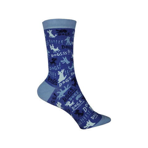 Dogs! Crew Socks in Blue