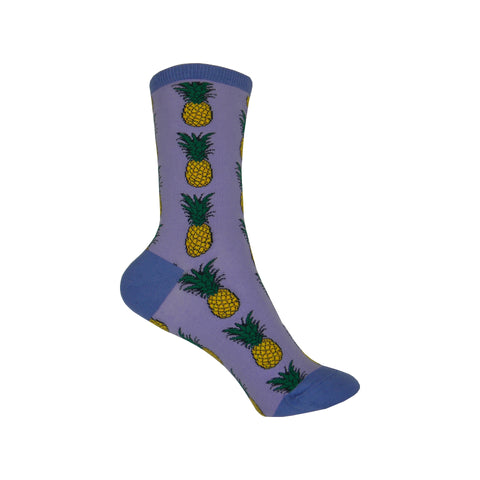 Pineapples Crew Socks in Lavender