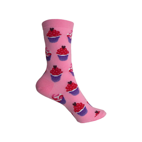 Valentines Cupcakes Crew Socks in Daiquiri