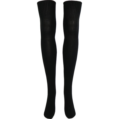 Black Rib Over The Knee Socks in Black