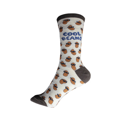 Cool Beans Crew Socks in Ivory Heather