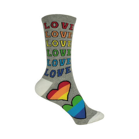 Rainbow Love Crew Socks in Gray Heather