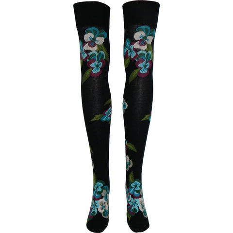 Bunch of Pansies Over The Knee Socks in Black