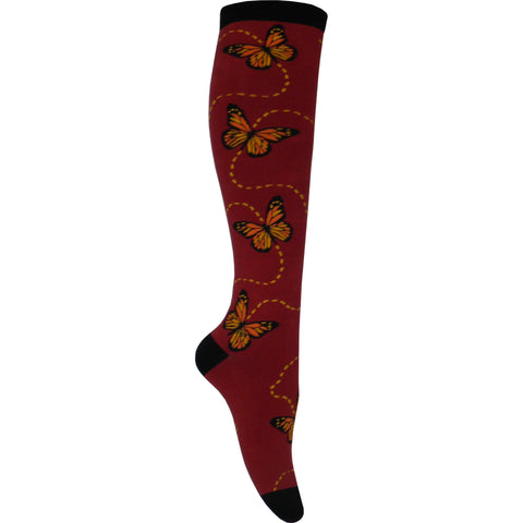 Butterflies Knee High Socks in Rust Red