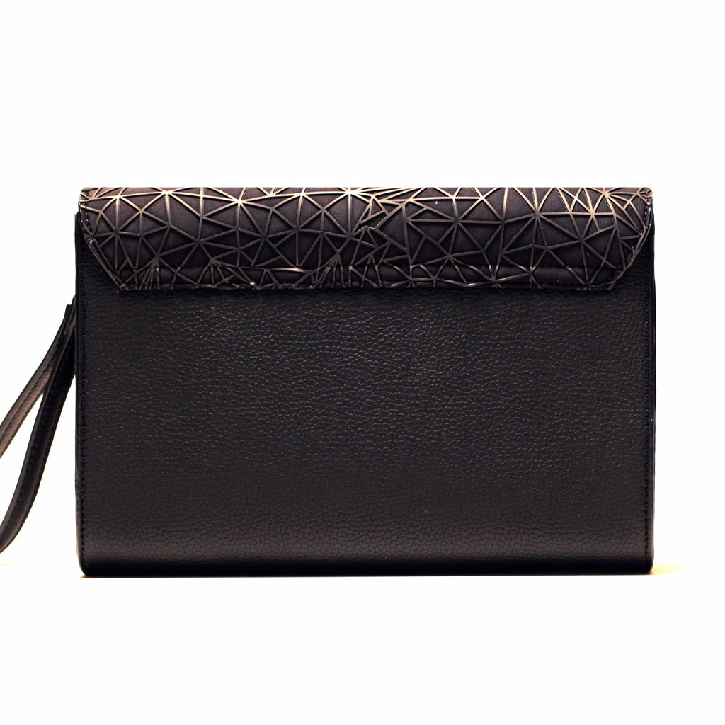 BLACK WEB ENVELOPE CLUTCH/PRE-ORDER