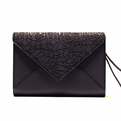 BLACK WEB ENVELOPE CLUTCH/PRE-ORDER 30% OFF