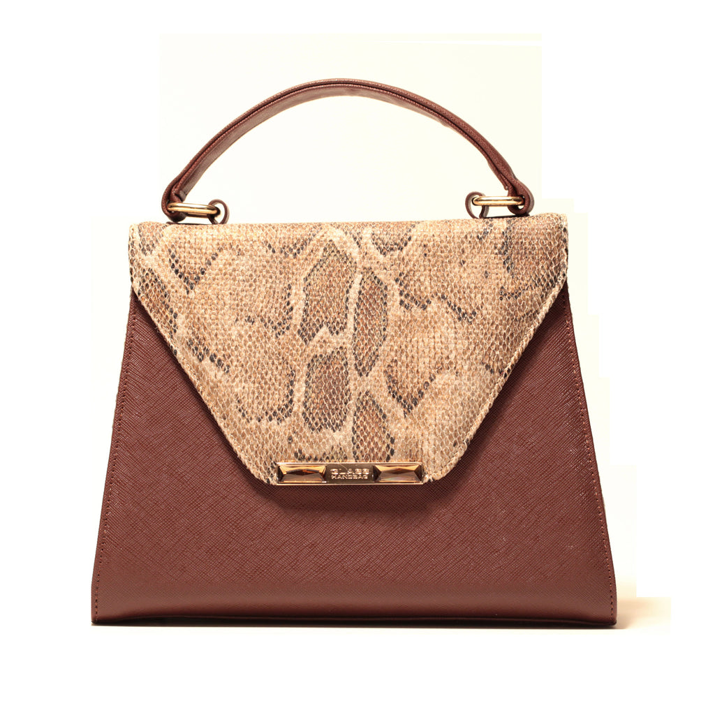 BROWN SNAKE FABRIC AND VEGAN LEATHER PRINCESS SATCHEL /PRE-ORDER