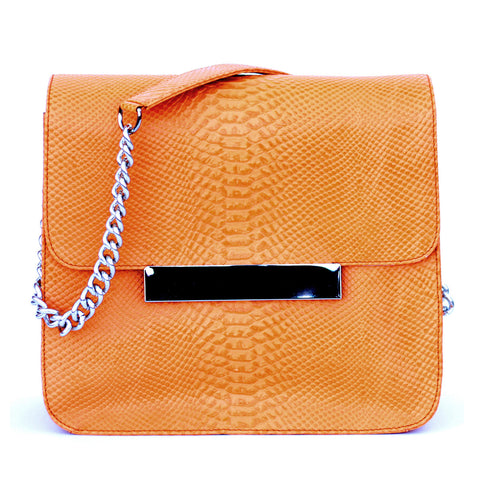Glass Handbag Frankie Crossbody Handbag in Burnt Orange snake stamped leather