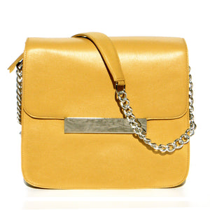 CROSS-BODY BAG IN YELLOW PEBBLE LEATHER