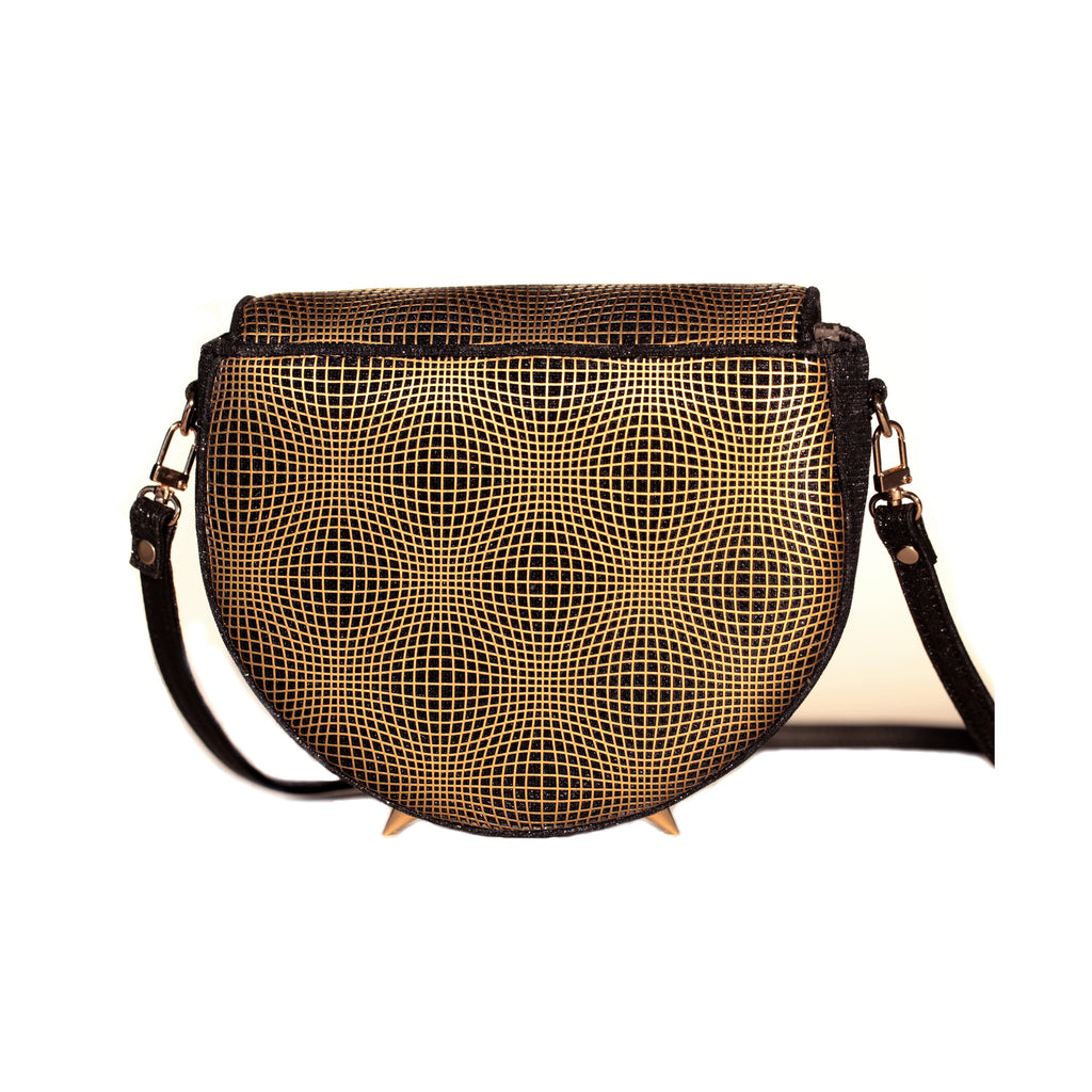 GOLD AND BLACK KITTY CROSS-BODY BAG/PRE-ORDER