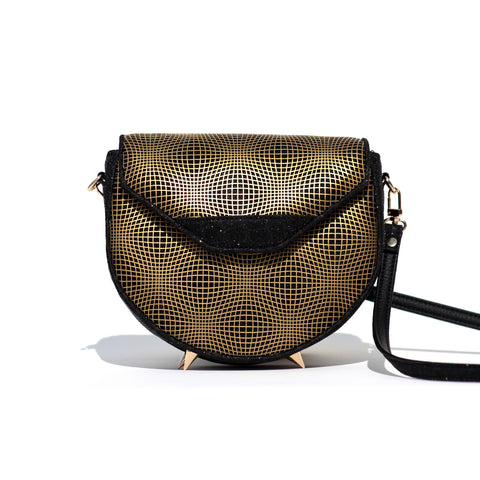 GOLD AND BLACK KITTY CROSS-BODY BAG/PRE-ORDER 30% OFF