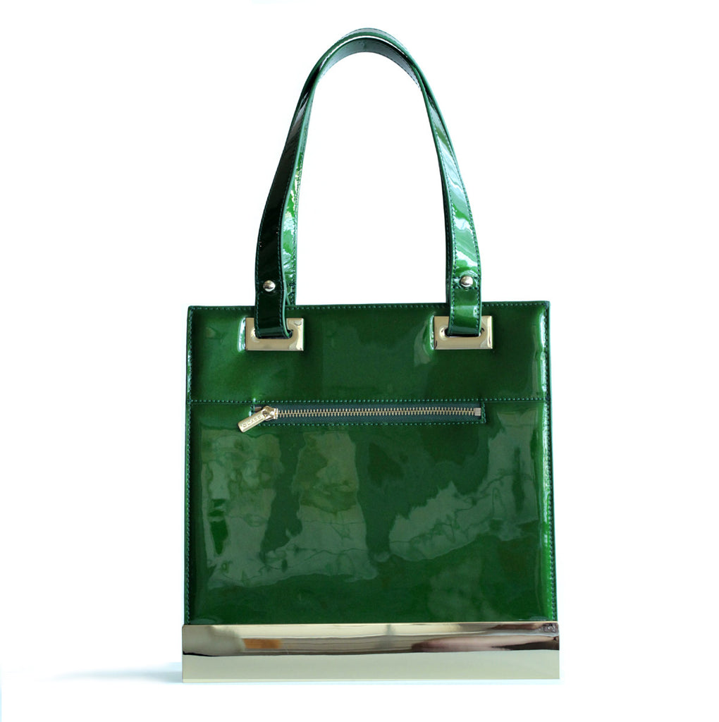 Glass Handbag Jewel Patent Leather Shoulder Bag in Emerald Green