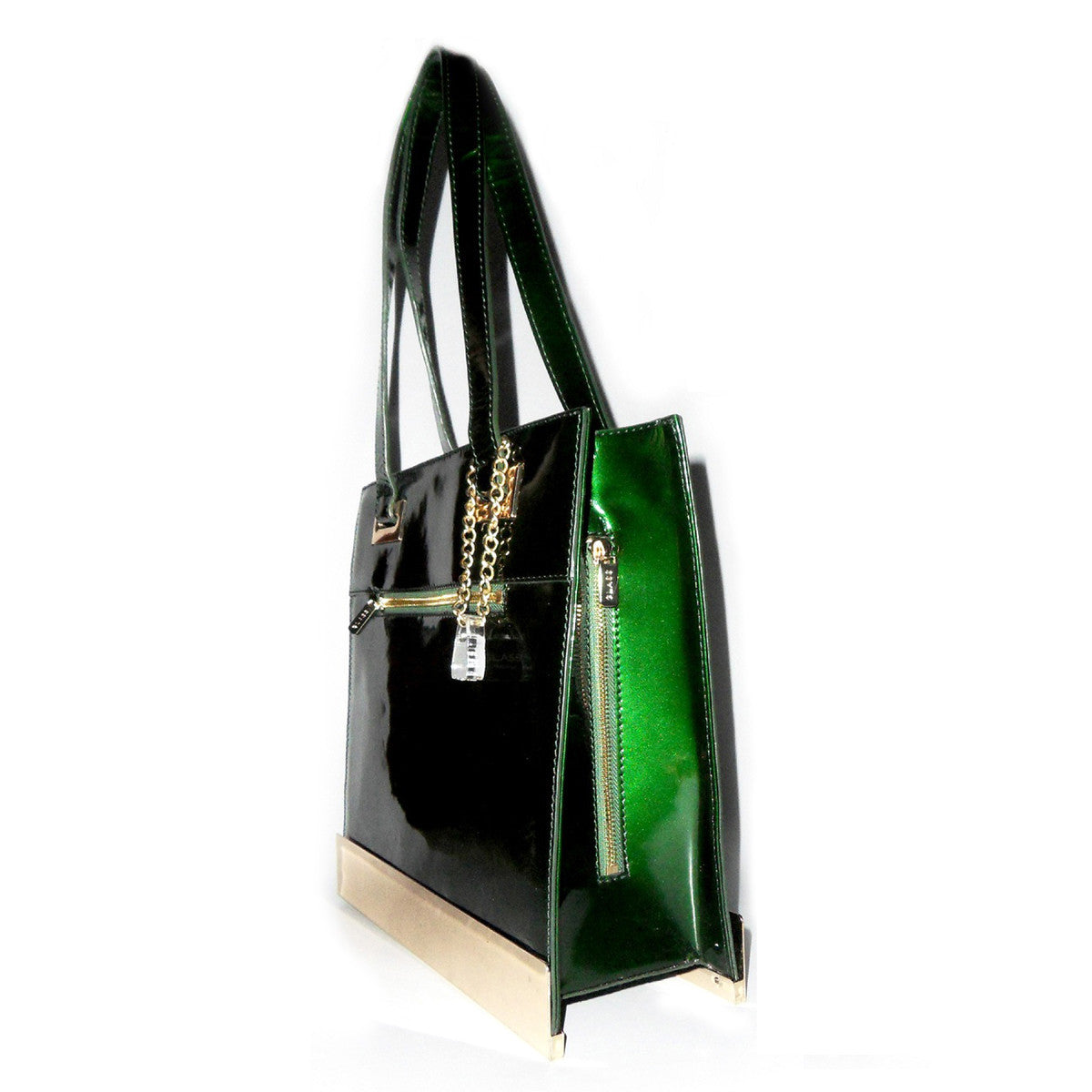 Glass Handbag Jewel Leather Shoulder Bag Custom Hardware in Emerald Green