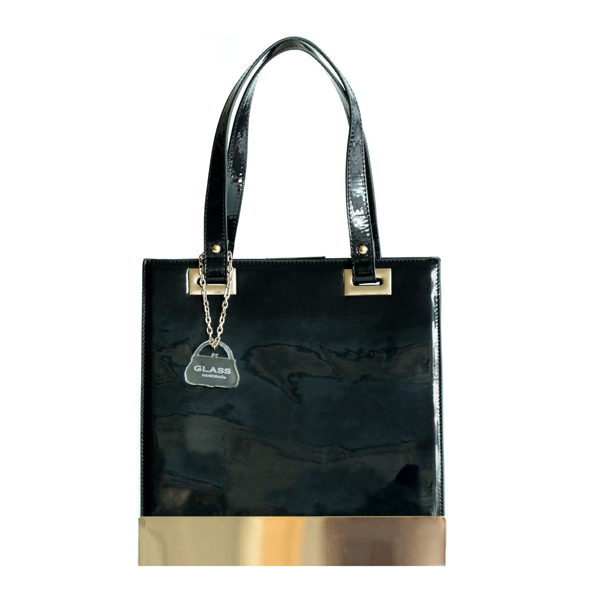 Glass Handbag Jewel Patent Shoulder Bag in Black Onyx