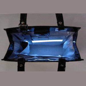 Glass Handbag Jewel Patent Leather Shoulder Bag in Emerald Green with interior lighting system