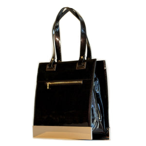 Glass Handbag Designer Jewel Patent Shoulder Bag in Black Onyx