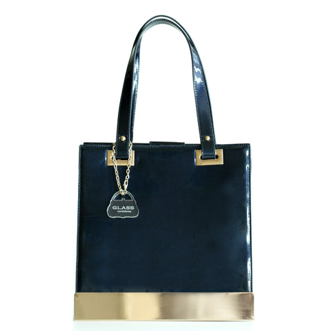 Glass Handbag Jewel Patent Shoulder Bag in Blue Sapphire