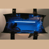 Glass Handbag Jewel Patent Shoulder Bag in Sapphire Blue with interior lighting system