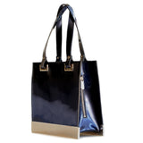 Glass Handbag Jewel Patent Shoulder Bag in Sapphire Blue