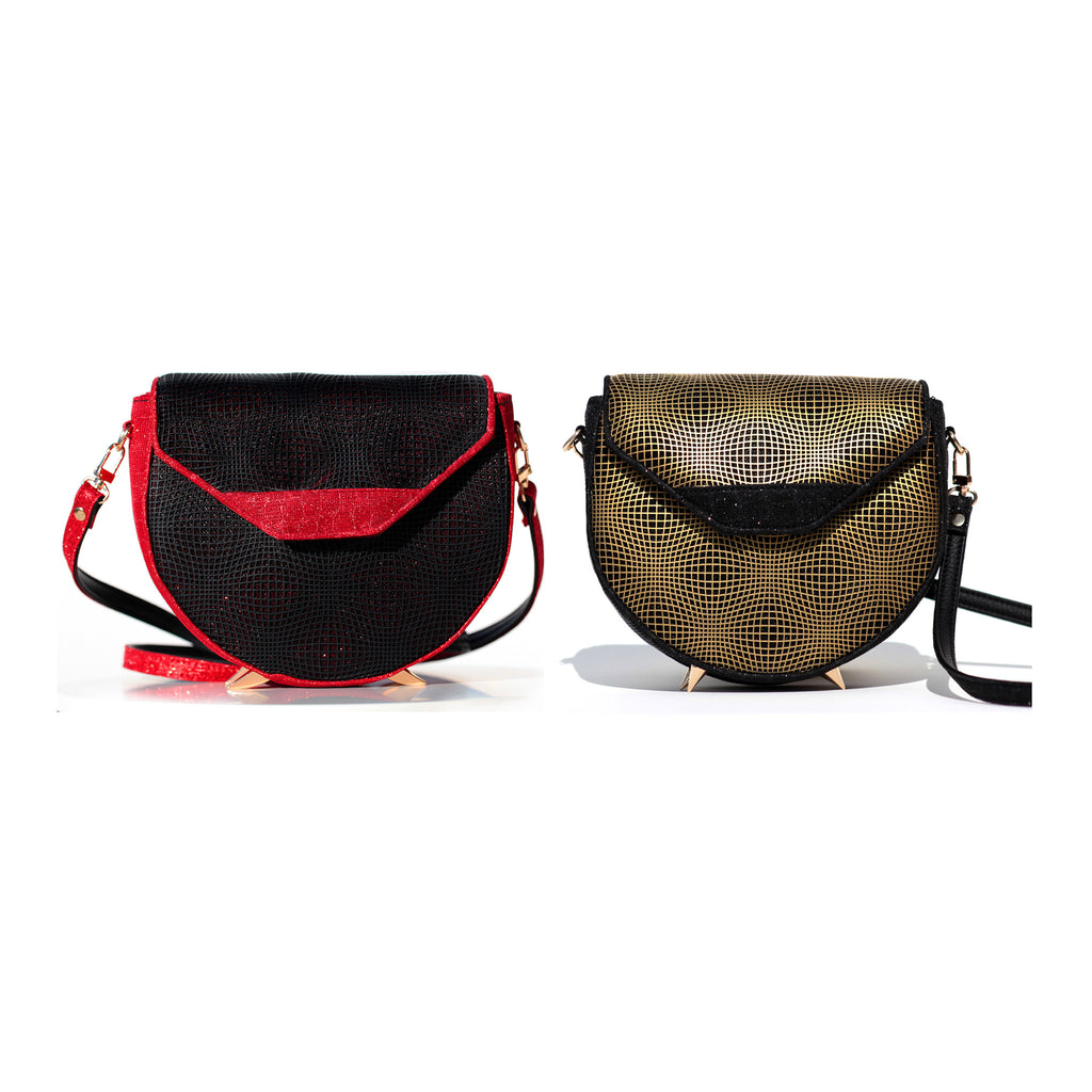 BLACK AND RED KITTY CROSS-BODY BAG