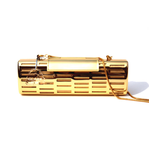 Glass Hanbag Rave metal clutch in gold