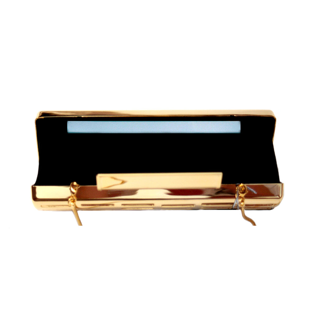Glass Handbag Rave metal clutch in gold with lighting system