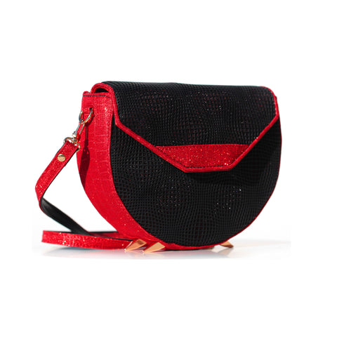 BLACK AND RED KITTY CROSS-BODY BAG/ PRE-ORDER 30% OFF