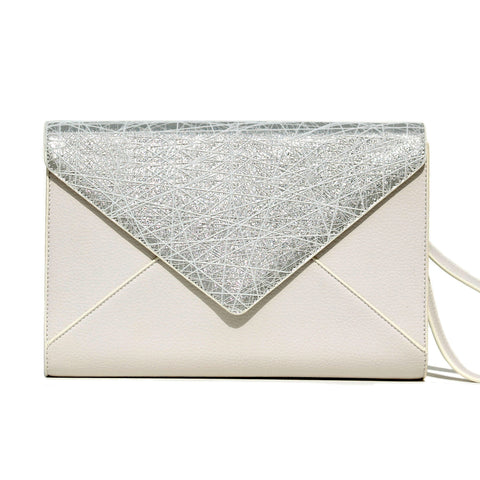 SILVER AND IVORY WEB ENVELOPE CLUTCH/PRE-ORDER