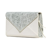 SILVER AND WHITE WEB ENVELOPE CLUTCH