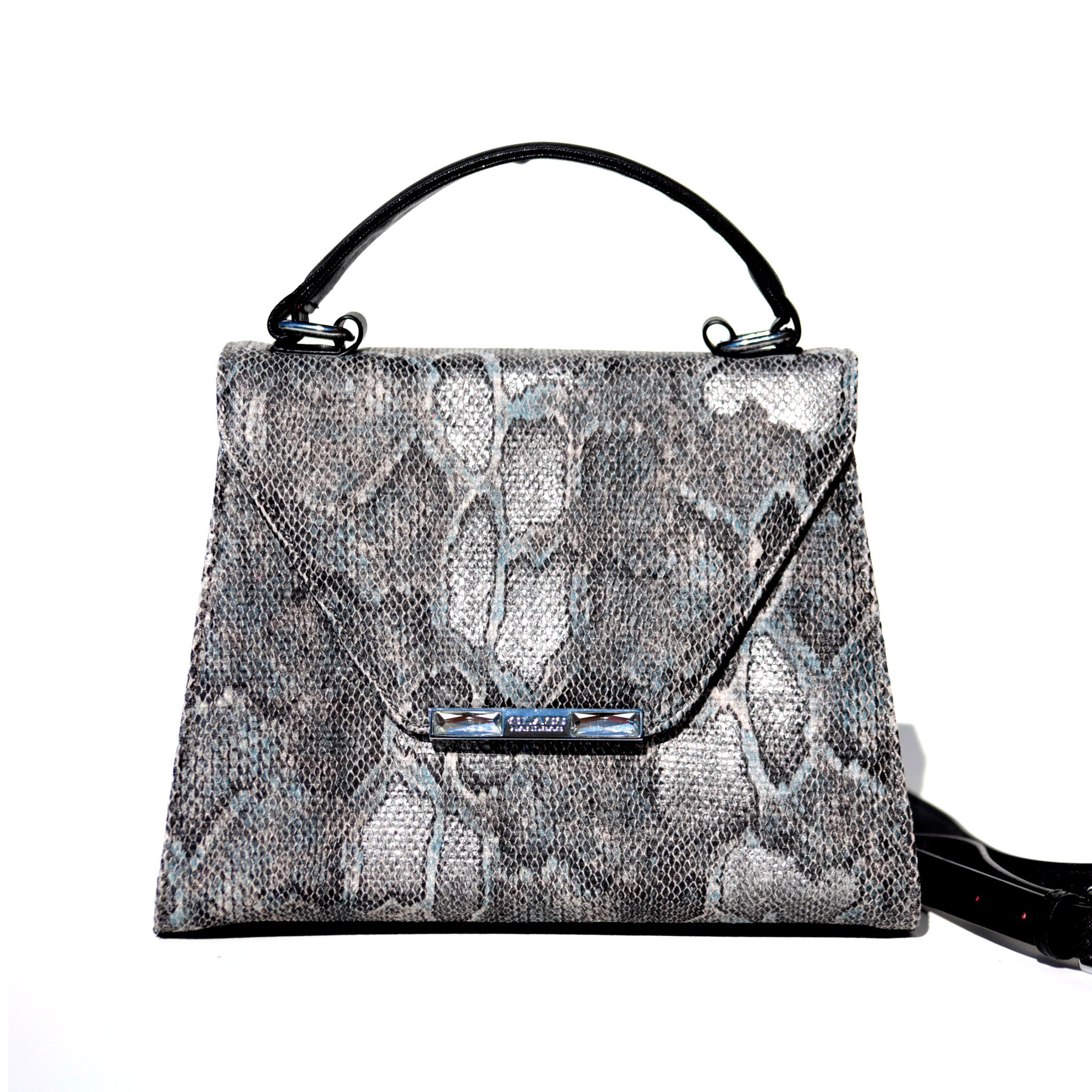 SILVER AND BLACK SNAKE PRINCESS SATCHEL