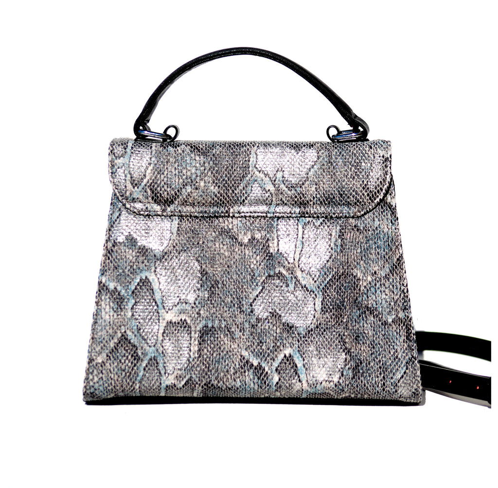SILVER AND BLACK SNAKE PRINCESS SATCHEL/PRE-ORDER