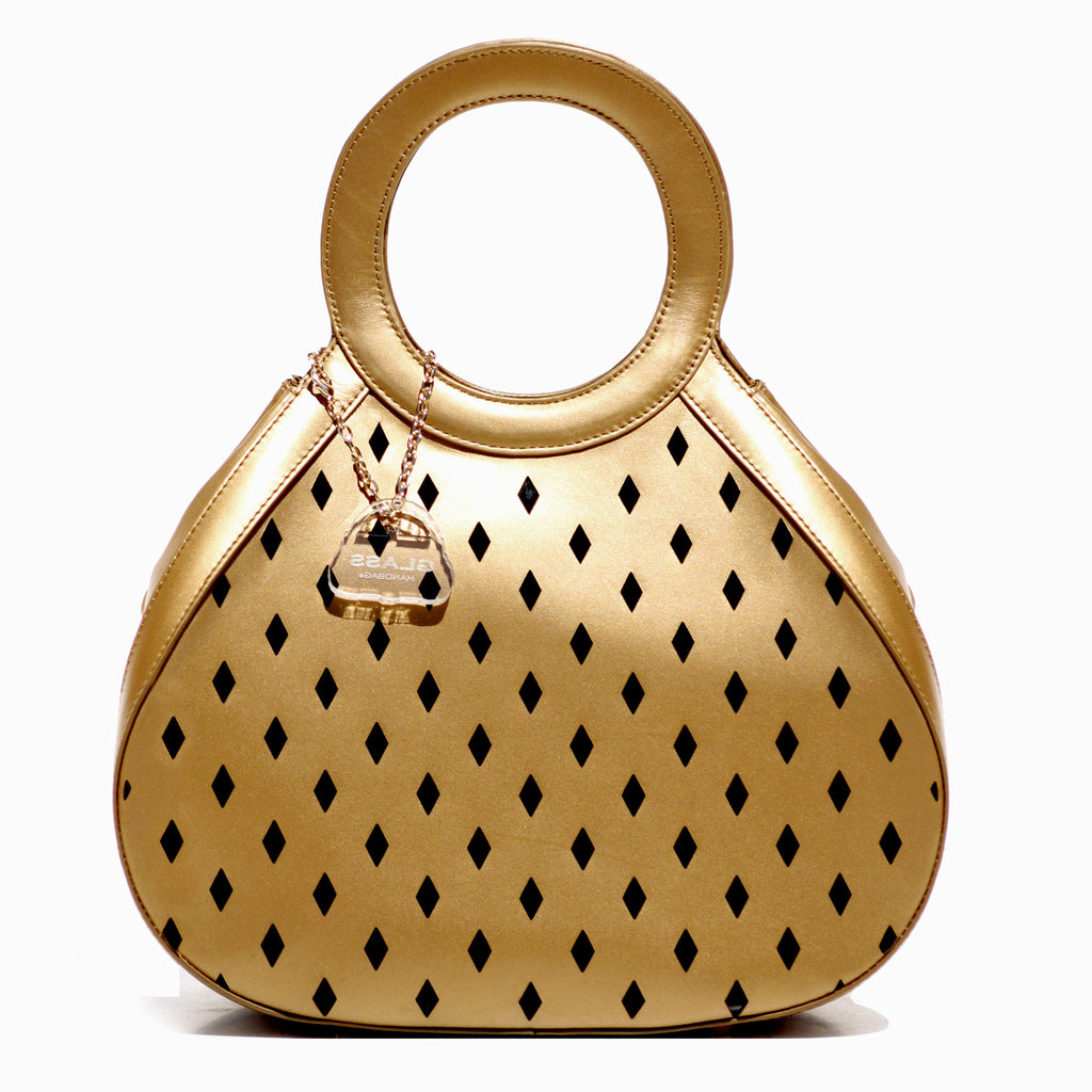 Glass Handbag Teardrop Satchel in Gold napa leather with free silver Rave evening clutch