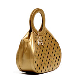 Glass Handbag Teardrop Satchel in Gold napa leather plus gift with purchase with Rave evening clutch in silver