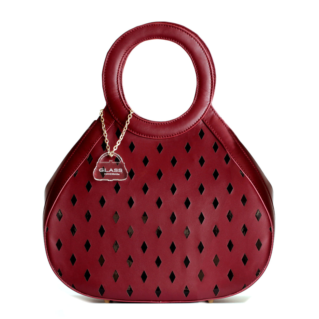 Glass Handbag Teardrop Satchel in Red napa leather with black accent plus free gift Rave