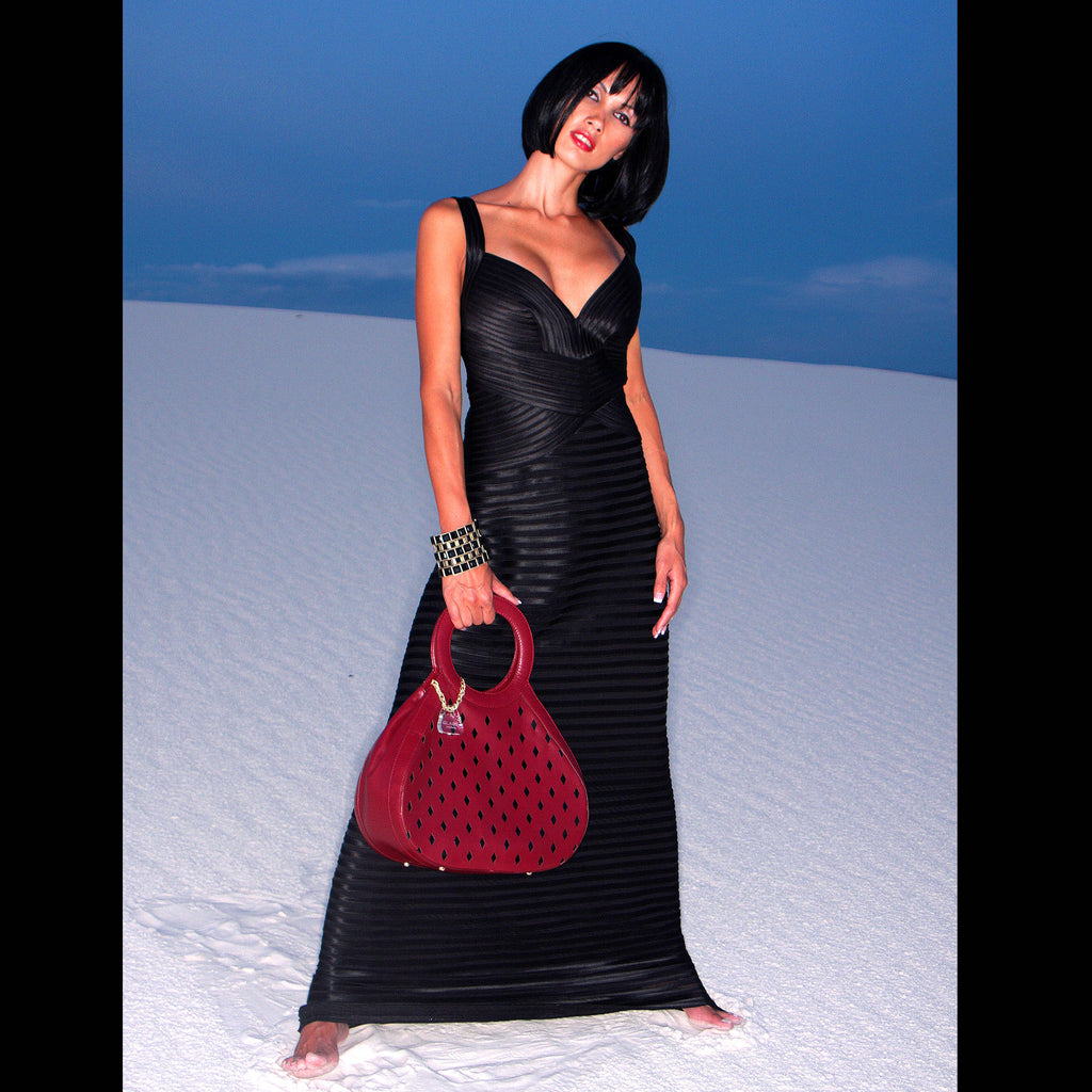 Glass Handbag Teardrop Satchel in Red diamond cut napa leather fashion model