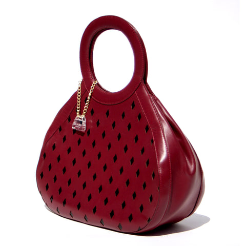 Glass Handbag Teardrop Satchel in Red diamond cut napa leather