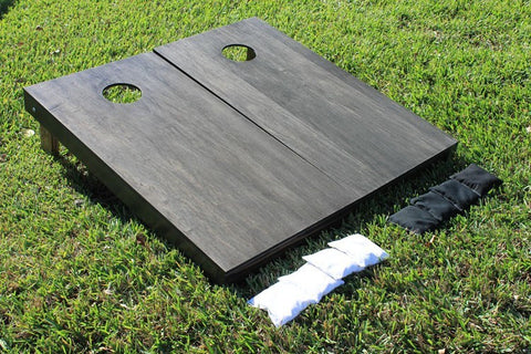Black stained plain bag toss game