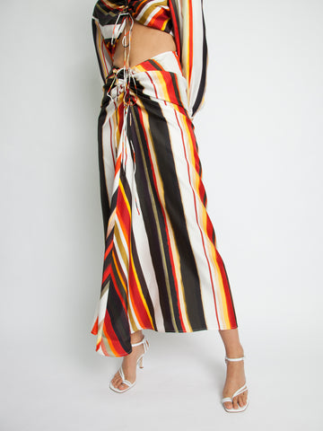 Ruched Disconnect Striped Shirt Dress