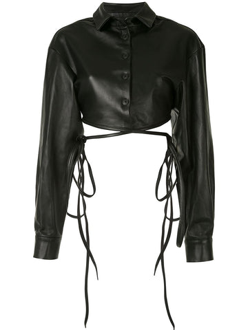 Leather Cropped Tie Shirt - Christopher Esber