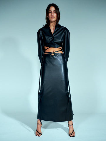 Leather Looped Tie Skirt - Christopher Esber