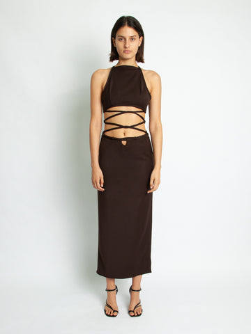 Wrapped Interlock Tie Halter Dress