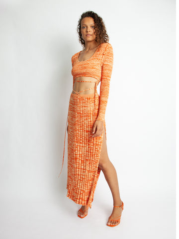 Pleated Knit Tie Skirt