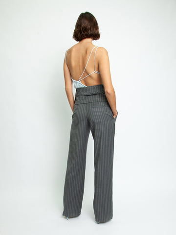Double belted pinstripe Trouser - Christopher Esber