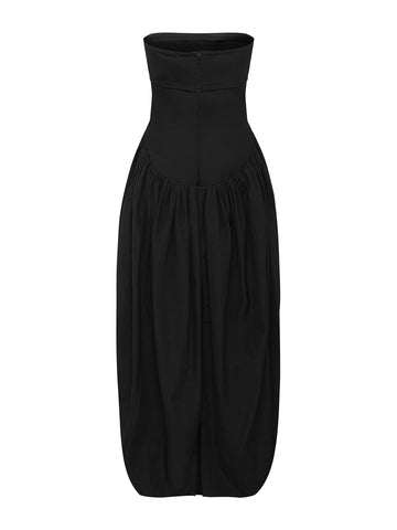 Under Column Cocoon Strapless Dress