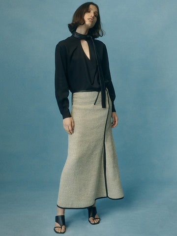 Woven Outlined Panelled Skirt