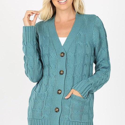 Cable Knit Sweater - PLUS