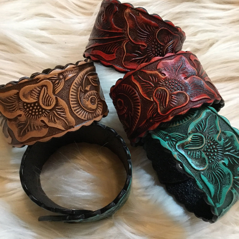 Leather Floral Cuffs